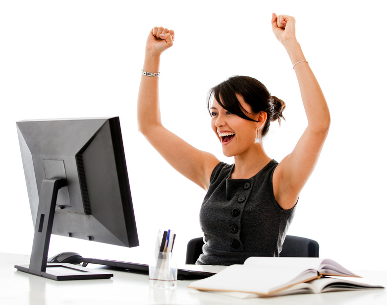Successful business woman with arms up - isolated over a white background